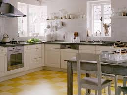 Checkered Kitchen Floor Retro Kitchen Designs Beige Lacquer Finish Kitchen Cabinet Wooden