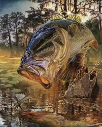 largemouth bass jumping eating art painting jason mathias