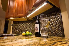 top of cabinet lighting. Classic Kitchen With White LED Fluorescent Under Cabinet Lighting, Black Yellow Mosaic Backsplash, Top Of Lighting S