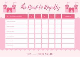 Pink Castle Princess Reward Chart Templates By Canva