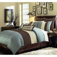 modern bedroom design ideas with dark brown bedside table with drawer and queen blue beige brown