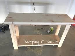 How to build a simple table Sofa Table First Sanded The Whole Thing And Then Stained The Table Top With An Espresso Colored Stain Brushed It On And Then Using Rag Took Off The Excess Keeping It Simple Crafts How To Build Sofa Table For Only 30 Keeping It Simple
