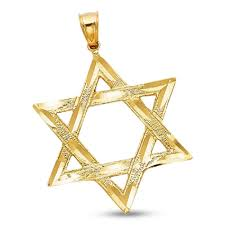 details about star of david charm solid 14k yellow gold religious pendant design large