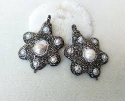 Wholesale <b>Natural Pearl Flower Shape</b> Pendants Pave Rhinestone ...