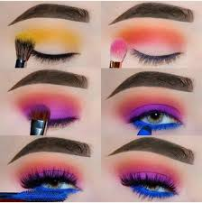colorful eye shadow makeup tutorial super easy to follow with this step by step pictorial