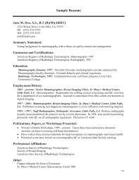 Beautiful Medical Technologist Resume Nuclear Medicine Technologist