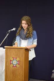 patriot s pen voice of democracy writers recognized south faith trenkle gives her voice of democracy speech during a banquet at the vfw post 3541