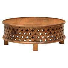 interesting carved wood round coffee table for your living room design carved teak wood round