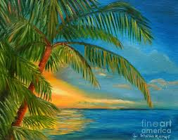 paintings of palmtrees sunset reflections key west sunset and palm trees painting by shelia