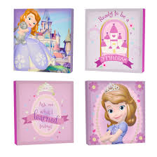 on toddler canvas wall art with disney sofia the first 4 pack canvas wall art walmart
