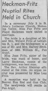 Wedding Floyd Heckman Fay Fritz - Newspapers.com