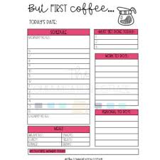 Daily Planner Pages But First Coffee