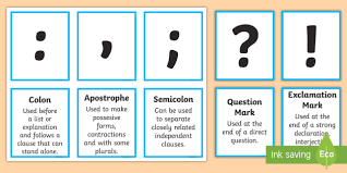Punctuation Marks And Explanation Matching Cards Punctuation English