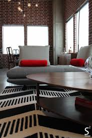 White And Red Living Room Loft Modern Living Room Exposed Brick Wall Black White Red