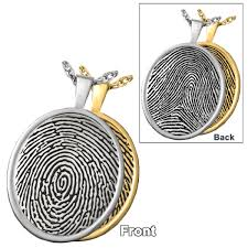 fingerprint memorial jewelry oval rimmed pendant double sided fp 3504