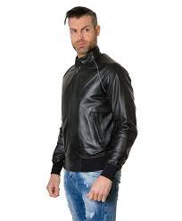 1066 black colour leather er jacket smooth aspect