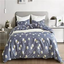 fashion blue white flower pattern 2 pillowcase duvet cover set bedding sets usa queen double king twin size bedlinen soft blanket sets bedspreads sets from