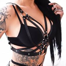 us women punk gothic bra leather harness belt top chest straps 2 2 of 9