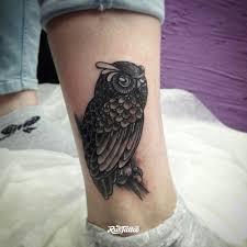 фото татуировки сова в стиле графика нео традишнл татуировки на