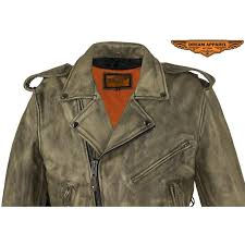 xelement omega men s distressed brown leather motorcycle jacket