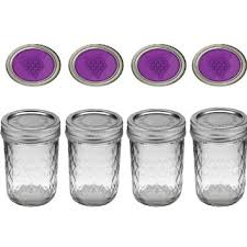 ball quilted crystal jelly jars 4 oz. bundle: ball canning crystal jelly jars with lids and bands, 8-ounce, quilted 4 oz