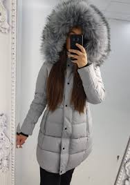 nina grey padded faux fur hooded coat
