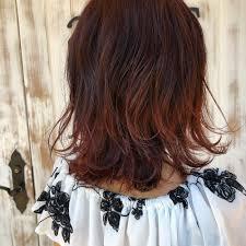 ワインレッドミディアム Ailesエルのヘアスタイル 美容院美容室