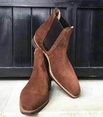 Chelsea boots, combat boots, and dress boots all look differently depending on if you wear them with jeans, chinos, dress pants, etc. Mens Brown Square Toe Suede Chelsea Boots Men Elegant Casual Suede Chelsea Boots Rangoli Collection Online Store Powered By Storenvy