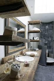 rustic modern bathroom. Rustic Master Bathroom With Porcelain Stone, Reclaimed Wood Floating Shelves, Rain Shower, Modern