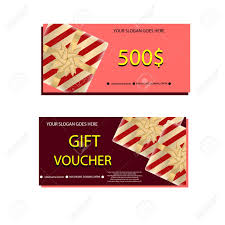 Holiday Gift Certificate Set Of Luxury Gift Vouchers With Golden Ribbons Bows And Gift