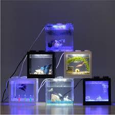 Office aquariums Marine Acrylic Aquariums With Lamp Transparent Tanks 12x8x10cm Mini Usb Led Lighting Fish Tank Aquarium Ornament Office Desktop Decor Instantfindinfo Acrylic Aquariums With Lamp Transparent Tanks 12x8x10cm Mini Usb Led