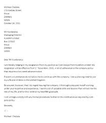 Examples Letters Of Resignation Letter Resignation Template Sample