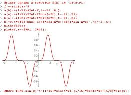 plot of the fourier series for f x sin x 5 for period 2p if you tried this by hand it would require considerable time also you will notice that
