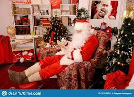 Christmas Design Checks Traditional Santa Claus Checks His List In A Notebook Stock