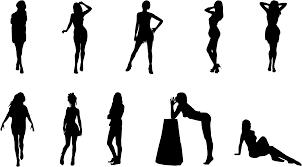 フリーイラスト 10人のセクシーな女性のシルエットのセットでアハ体験