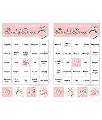 Wedding Bingo Words Bridal Shower Bingo
