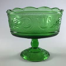 vintage green depression glass candy dish retro pedestal bowl compote glass bowl by e