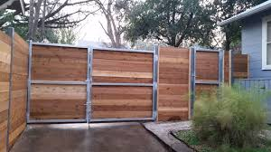 Wood and metal privacy fence Residential Wood And Metal Fence Wood And Metal Privacy Fence Cedar Horizontal Style Fence With Steel Frame Wood And Metal Fence Funpressinfo Wood And Metal Fence Iron And Wood Fence And Gate Projects Wood And