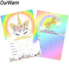 B Day Invitation Cards Us 0 79 20 Off Ourwarm 10pcs Birthday Invitation Card Unicorn Party Cartoon Invitation Card With Envelope Baby Shower Kids Birthday Party Favor In