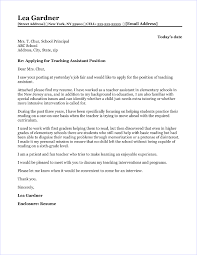 teaching istant cover letter sle