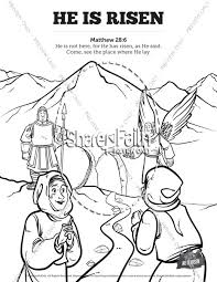Matthew 28 He Is Risen Easter Sunday School Coloring Pages Sunday