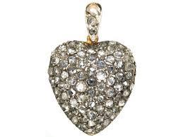 edwardian 15ct gold rose diamond heart shaped pendant