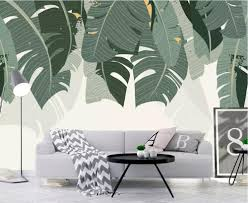 <b>Beibehang Custom wallpaper</b> Nordic small fresh banana leaf ...