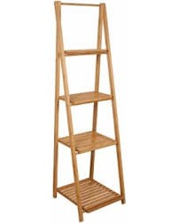 Shelving Unit: Bamboo Ladder Shelf, Wood