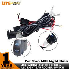 aliexpress com buy 12v led light bar wiring harness 40 amp relay aliexpress com buy 12v led light bar wiring harness 40 amp relay fuse on off laser rocker switch blue 1lead 12ft 14awg for atv jeep rv car switch from
