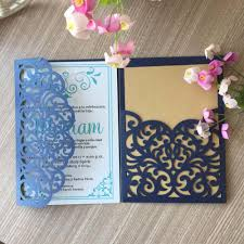 30pcs Lot Tri Fold Lace Design Wedding Invitation Card Laser Cut Pocket Invitation Cards Rsvp Cards