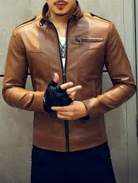 fashionable stand men clothing collar zipper embellished leather jacket