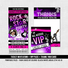 Concert Ticket Invitations Template Cool CONCERT TICKET INVITATIONS Rock Star Birthday Party Thank Etsy