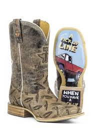 Men S Cowboy Boots Tin Haul Tan Diamond Plated