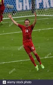 Mikkel Damsgaard (Dänemark) feiert, nachdem er das erste Tor seines Teams  während des UEFA-Halbfinale 2020 zwischen England 2-1 Dänemark im  Wembley-Stadion am 07. Juli 2021 in London, England, erzielt hat. Quelle:  Maurizio